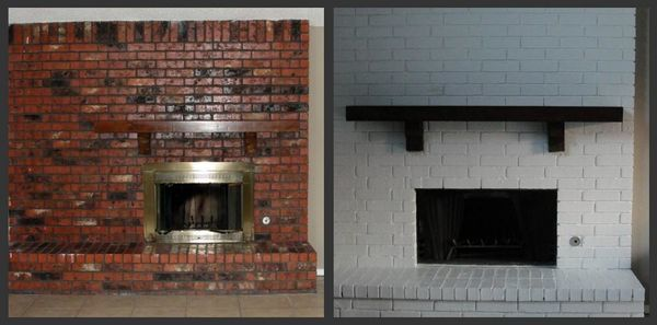 Before & After Fireplace Brick & Mantel Painted in Spring, TX (1)