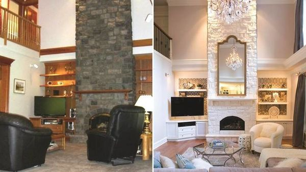 Before & After Built-in Entertainment Center Painted & Wallpapered and Fireplace Painted in Houston, TX (1)